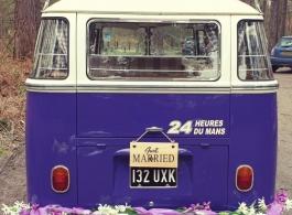 Purple Campervan for weddings in Ascot